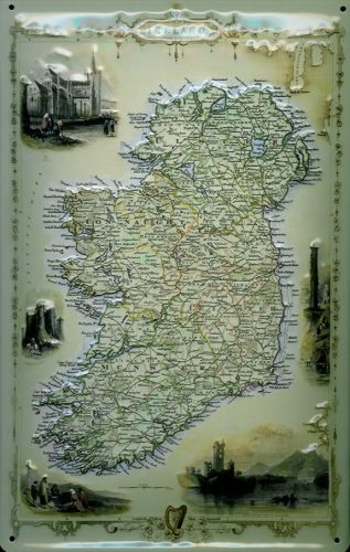 Ancient Map Of Ireland.An Ancient Map Of Ireland 8 X12 Embossed Metal Sign