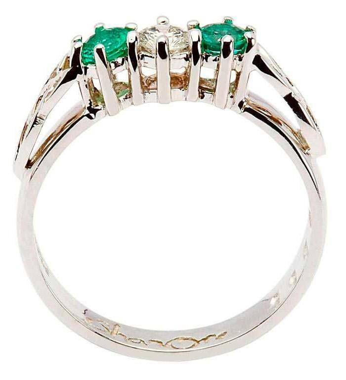 Irish Celtic Trinity Knot Diamond Emerald Set 14kt White Gold Ring