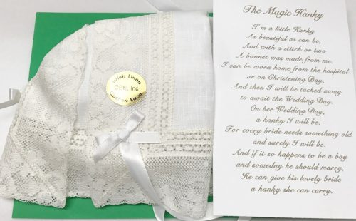 Irish Linen Magic Hanky With 2 25 Wide Shamrock Lace Christening Bonnet House Of Claddagh Collections