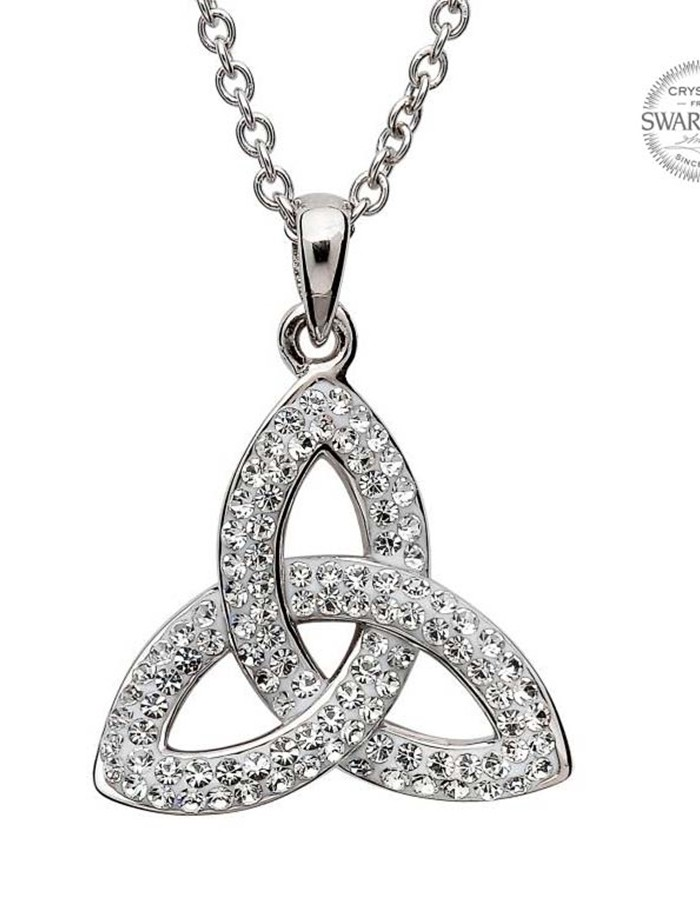 Celtic trinity knot pendant embellished with white swarovski celtic trinity knot pendant embellished with white swarovski crystals house of claddagh irish collections audiocablefo