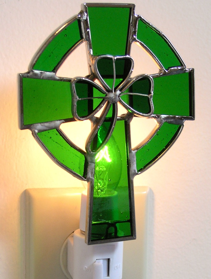Stained Glass Celtic Cross with Shamrock Night Light ...