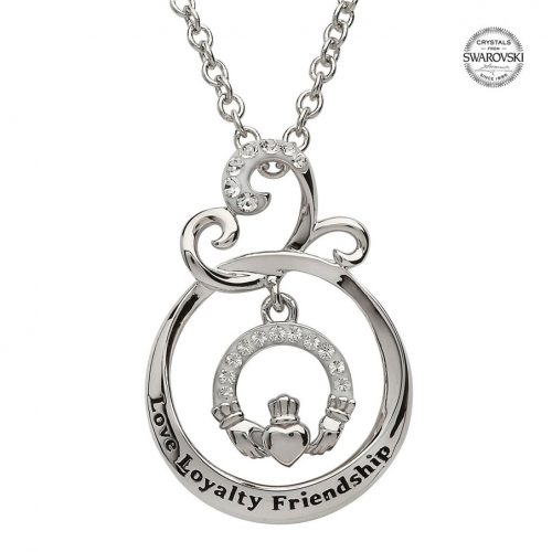 Sterling silver claddagh pendant embellished with white swarovski sterling silver claddagh pendant embellished with white swarovski crystals house of claddagh irish collections aloadofball Image collections