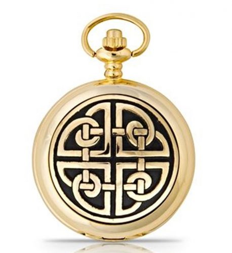 f3f5ac1f7 Celtic Square Knot Mens Gold Plated Quartz Pocket Watch – House of Claddagh  Irish Collections