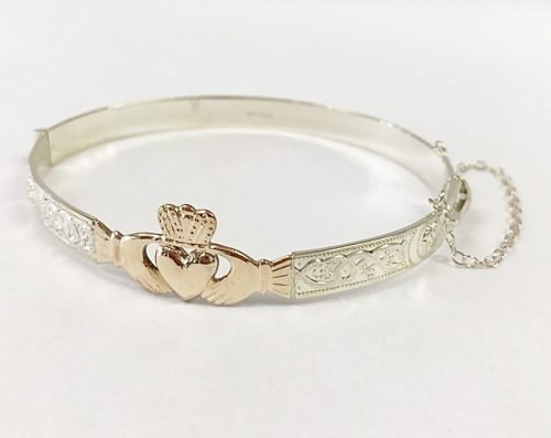 Sterling Silver And Rolled Gold Las Claddagh Bangle Bracelet House Of Irish Collections