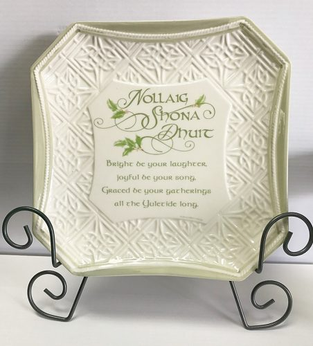 an irish christmas blessing plate and metal stand house of claddagh irish collections