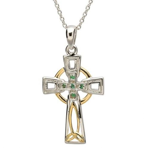 Sterling silver celtic cross pendant diamond and emerald set house sterling silver celtic cross pendant diamond and emerald set house of claddagh irish collections aloadofball Image collections