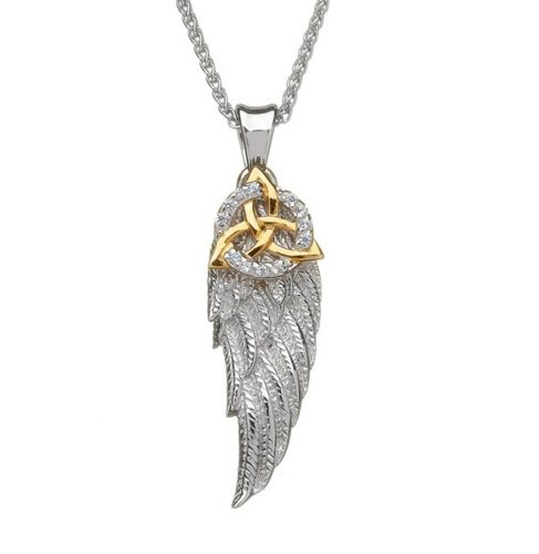 Angel wing pendant with gold trinity knot and cz circle house of angel wing pendant with gold trinity knot and cz circle house of claddagh irish collections aloadofball Choice Image