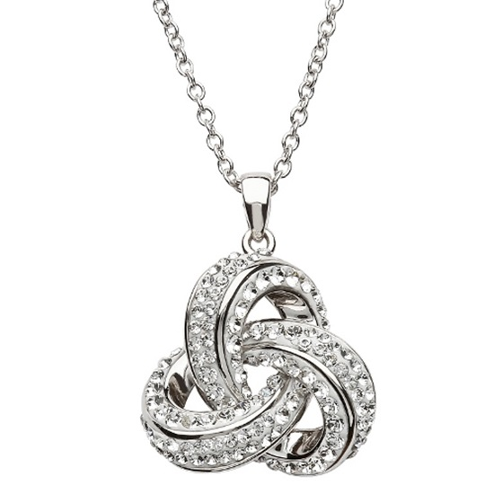 9123cc8af2d6ca Celtic Trinity Knot Necklace Embellished with White Swarovski Crystals –  House of Claddagh Irish Collections