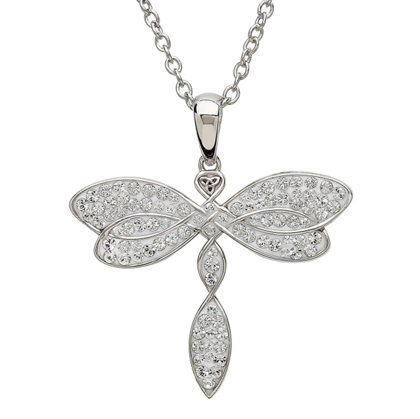 Celtic Dragonfly Pendant Encrusted With White Swarovski Crystals