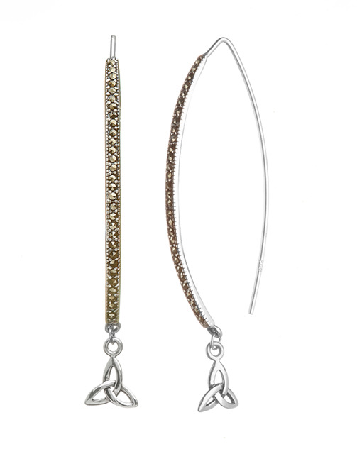 Sterling Silver Marcasite Trinity Knot Wishbone Earrings