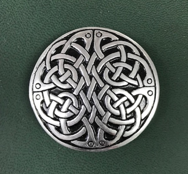 Round Neverending Celtic Knot Design Snap Chrome Belt Buckle House Of Claddagh Irish Collections