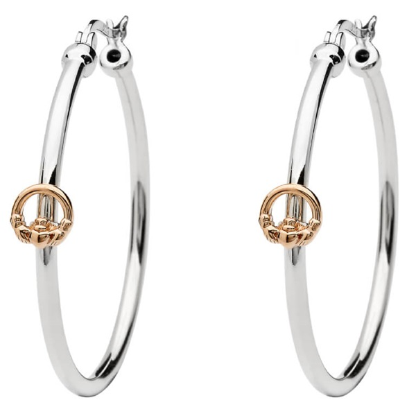 061738fa7 Rose Gold Plated Claddagh Sterling Silver Hoop Earrings – House of Claddagh  Irish Collections