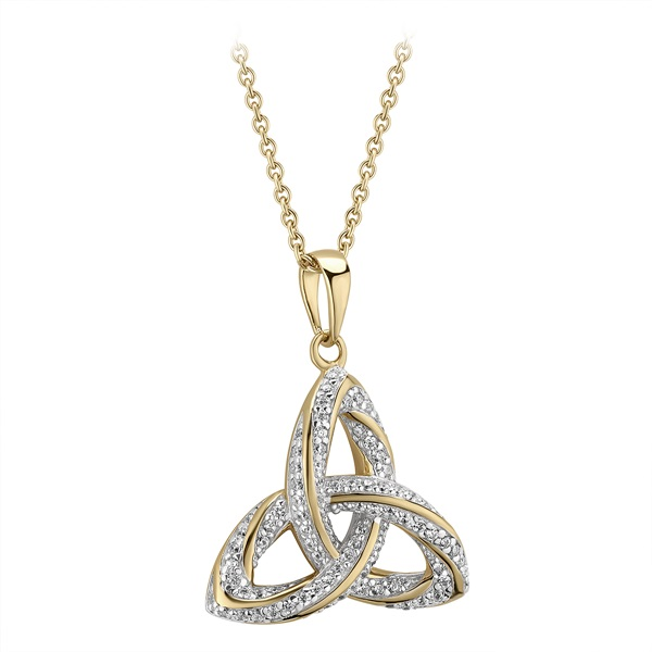 Elegant 925 Sterling Silver Cubic Zirconia Celtic Trinity Knot Charm Pendant Necklace
