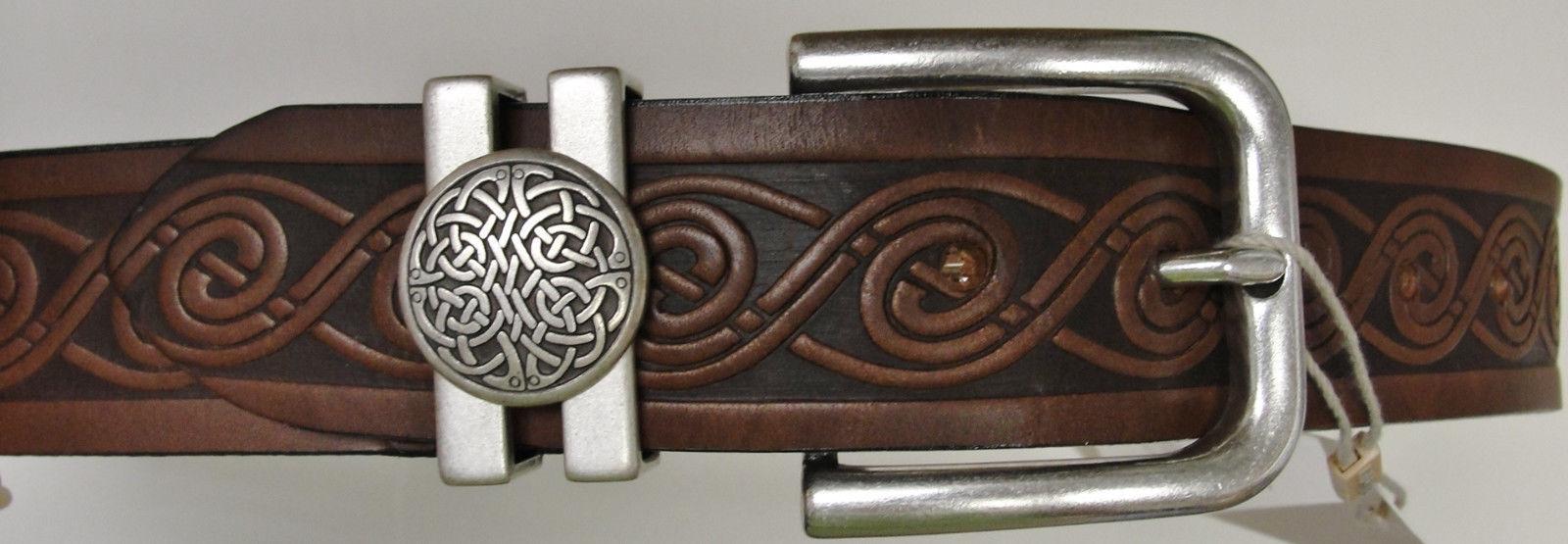 brown celtic knot embossed real leather men s belt 1
