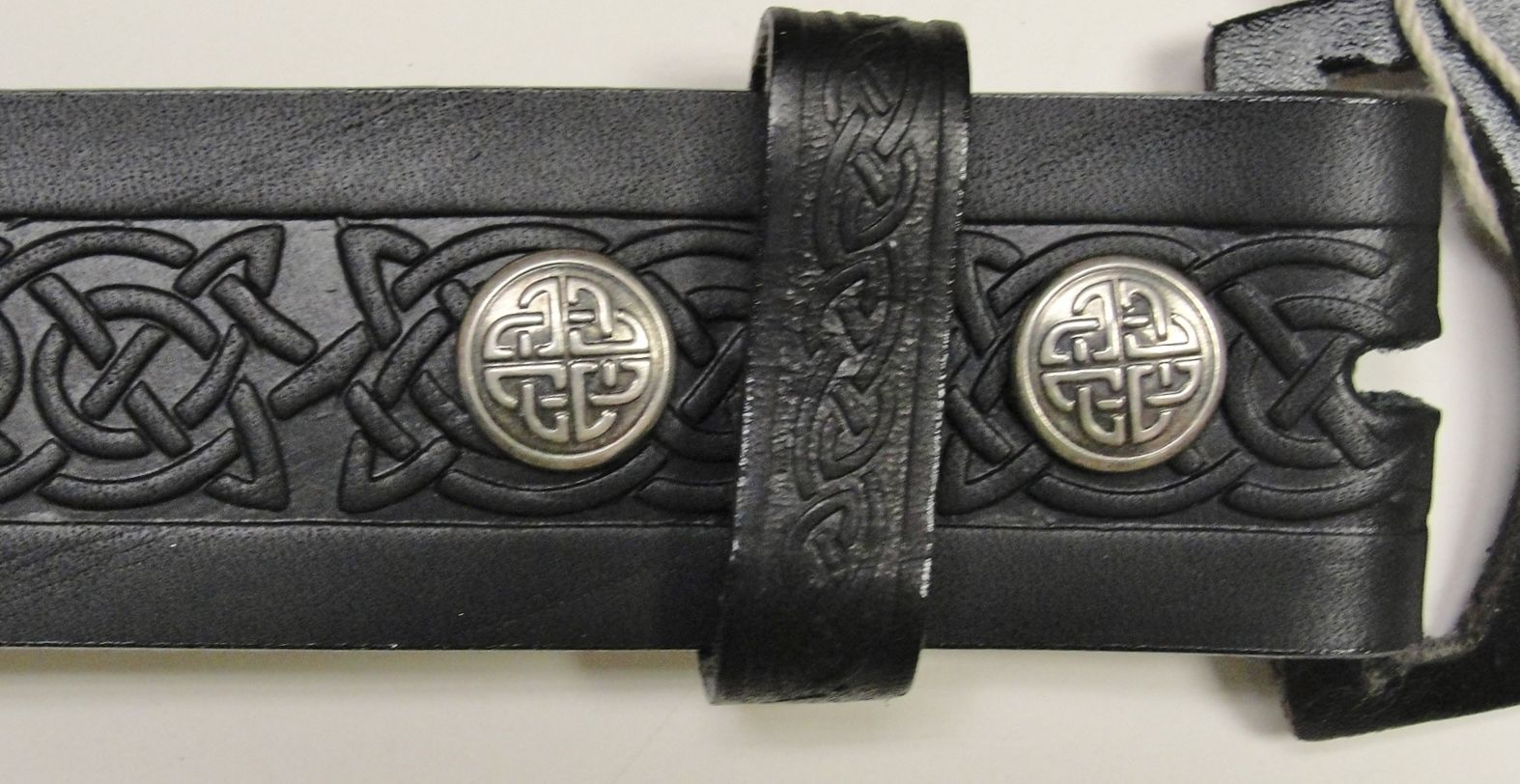 black celtic knot embossed real leather men s snap belt 1