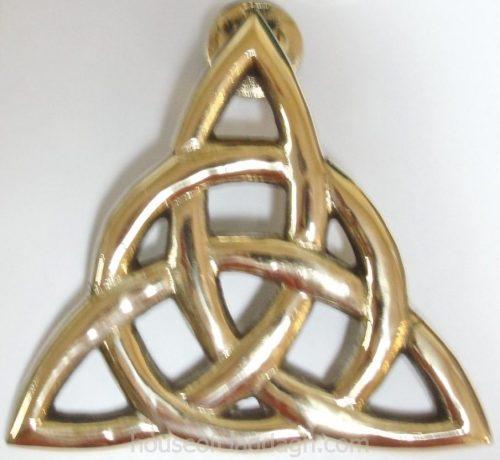 Irish Brass Celtic Trinity Knot Triquetra Eternity Doorknocker Large