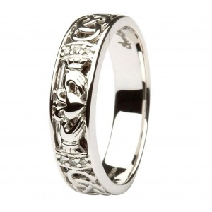 CLADDAGH-DIAMOND-SET-LADIES-WHITE-GOLD-WEDDING-RING-BAND-WITH-CELTIC-KNOT-WORK-371107346272