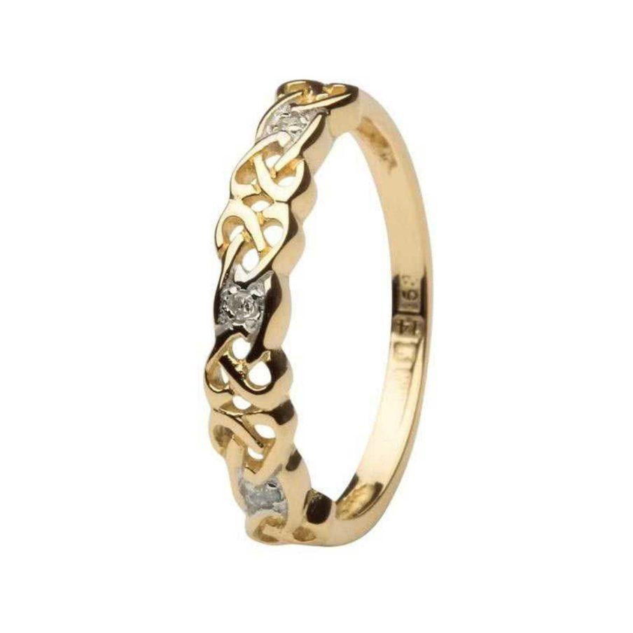Diamond Set Ladies 14kt Yellow Gold Celtic Ring