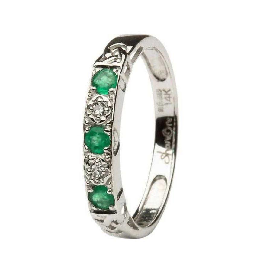 Irish Emerald Diamond Five Stone Set Ladies 14kt White