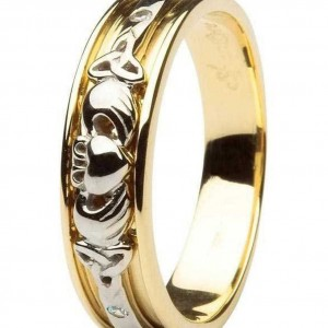CLADDAGH-AND-CELTIC-DIAMOND-SET-LADIES-14KT-YELLOW-WHITE-GOLD-WEDDING-RING-BAND-221506184585