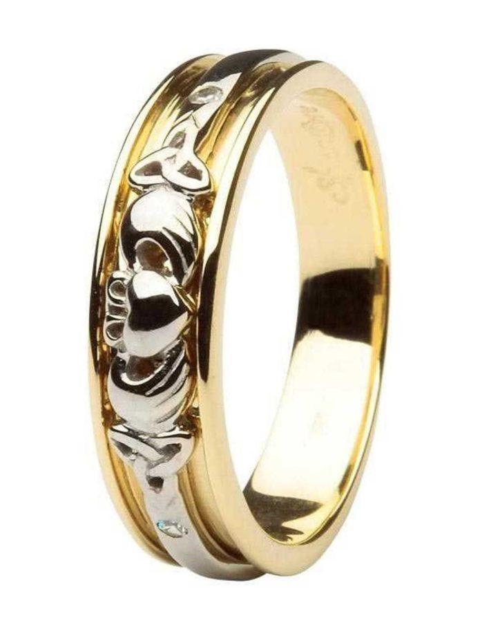 claddagh celtic diamond set ladies 14kt yellow white gold wedding band