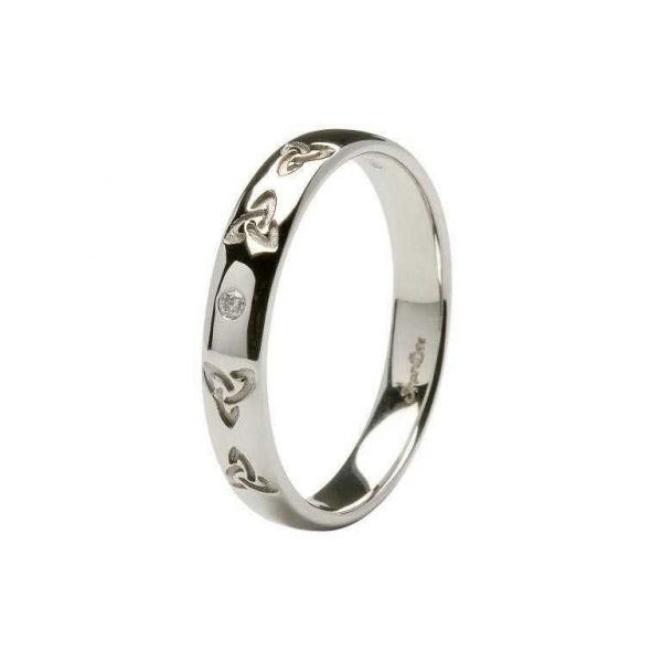 Celtic Knot Wedding Bands.Celtic Trinity Knot Diamond Set Ladies 14kt White Gold Wedding Band
