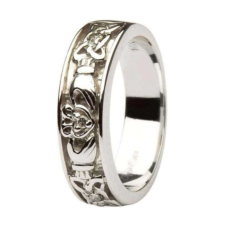 Claddagh Celtic Knot Diamond Set Ladies 14kt White Gold Wedding Band