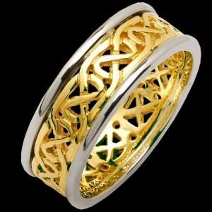 IRISH-CELTIC-KNOT-GENTS-14KT-YELLOW-WHITE-GOLD-PIERCED-SHEELIN-WEDDING-BAND-221525905616
