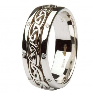IRISH-CELTIC-KNOT-WORK-DIAMOND-SET-LADIES-14KT-WHITE-GOLD-WEDDING-RING-BAND-221506951156