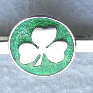 IRISH-MADE-SHAMROCK-ROUND-STERLING-SILVER-TIE-BAR-GREEN-ENAMEL-GREAT-GIFT-221531454366