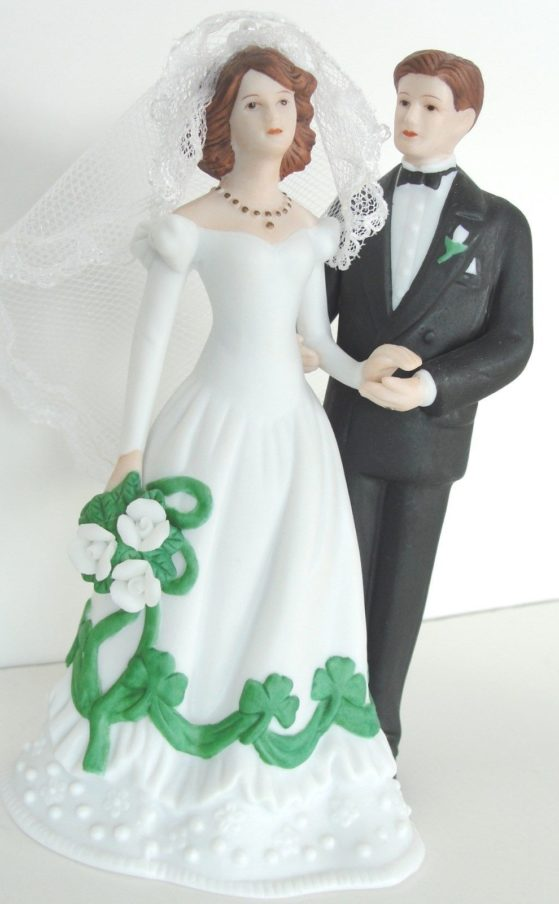 celtic wedding cake topper shamrock and groom wedding cake topper or figurine 2526