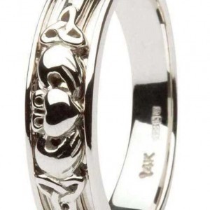 CLADDAGH-AND-CELTIC-DIAMOND-SET-LADIES-14KT-WHITE-GOLD-WEDDING-RING-BAND-371109736787