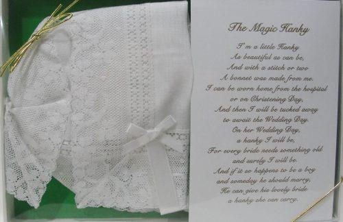 Baby Magic Christening Bonnet wedding hankie Butterfly Claddaugh Cross lace